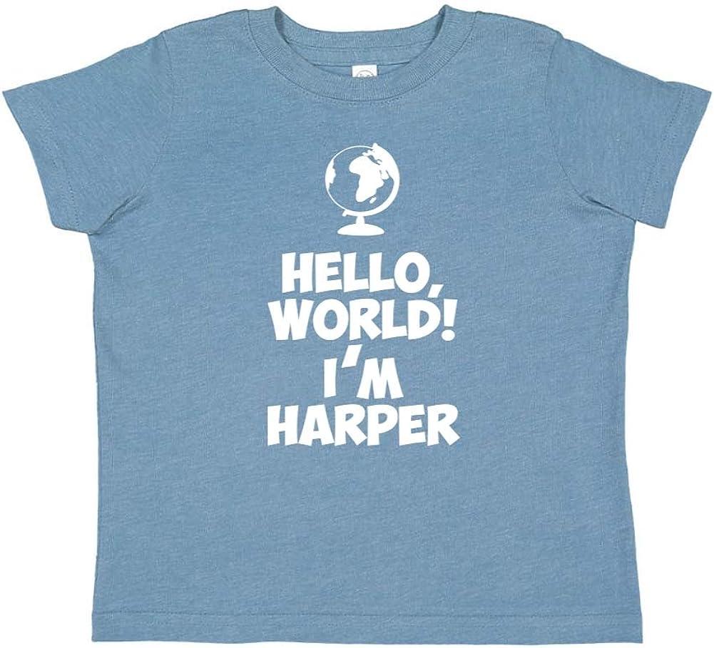 Im Harper World Mashed Clothing Hello Personalized Name Toddler//Kids Short Sleeve T-Shirt