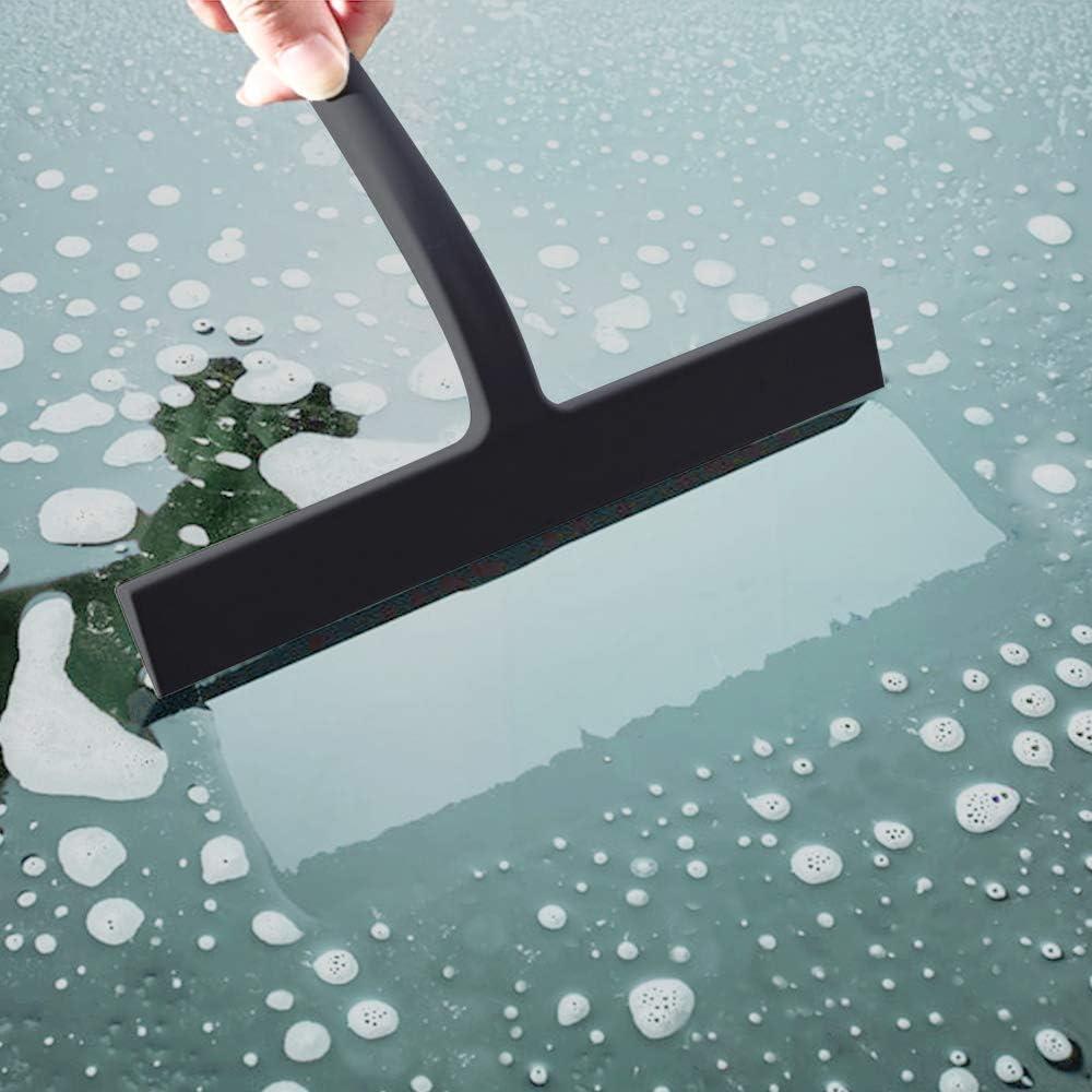 Spiegel Black Duschabzieher Silikon Duschwischer mit Edelstahl-Kern Fliesen Glas-Reinigung Abzieher Dusche f/ür Spiegel Fenster Glasreinigung Badezimmer