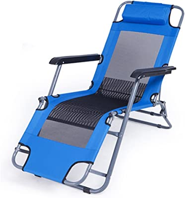 LXJYMXCreative Lounge Chair Multifunctional Folding Chair, Recliner Bed, Office Simple Bed, Portable Camping Folding Chair, Beach Bed @ (Color : Blue, Size : 53.532/94cm)