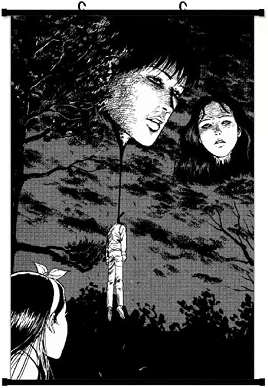Amazon Com Floating Heads Junji Ito Wall Hanging Scroll Poster Wall Art Print Artwork Painting For Home Decor Living Room Bedroom Fans Gift Posters Prints