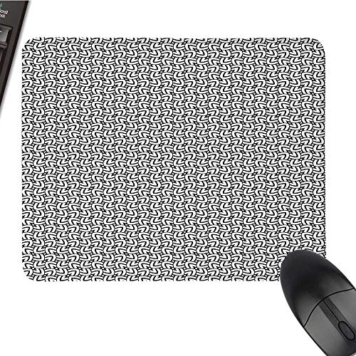 Black and WhiteLarge Mouse padGrid Style Squares with Lines Traditional Geometric Motifs of Middle EastComfortable Mousepad 9.8