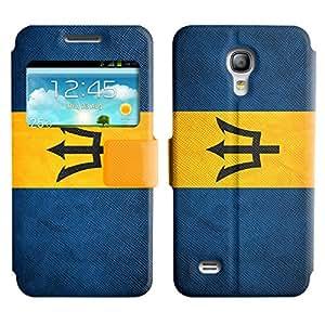 Graphic4You Barbados Bandera de Barbados Vintage Grunge Diseño Cuero Carcasa Funda Monedero con Tapa para Samsung Galaxy S4 Mini