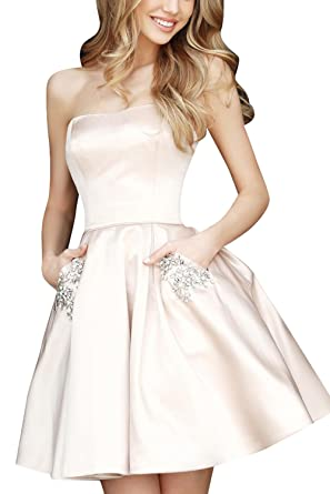 Weddder Beaded Strapless Prom Dresses Pockets Short Satin A Line Homecoming Party Gown