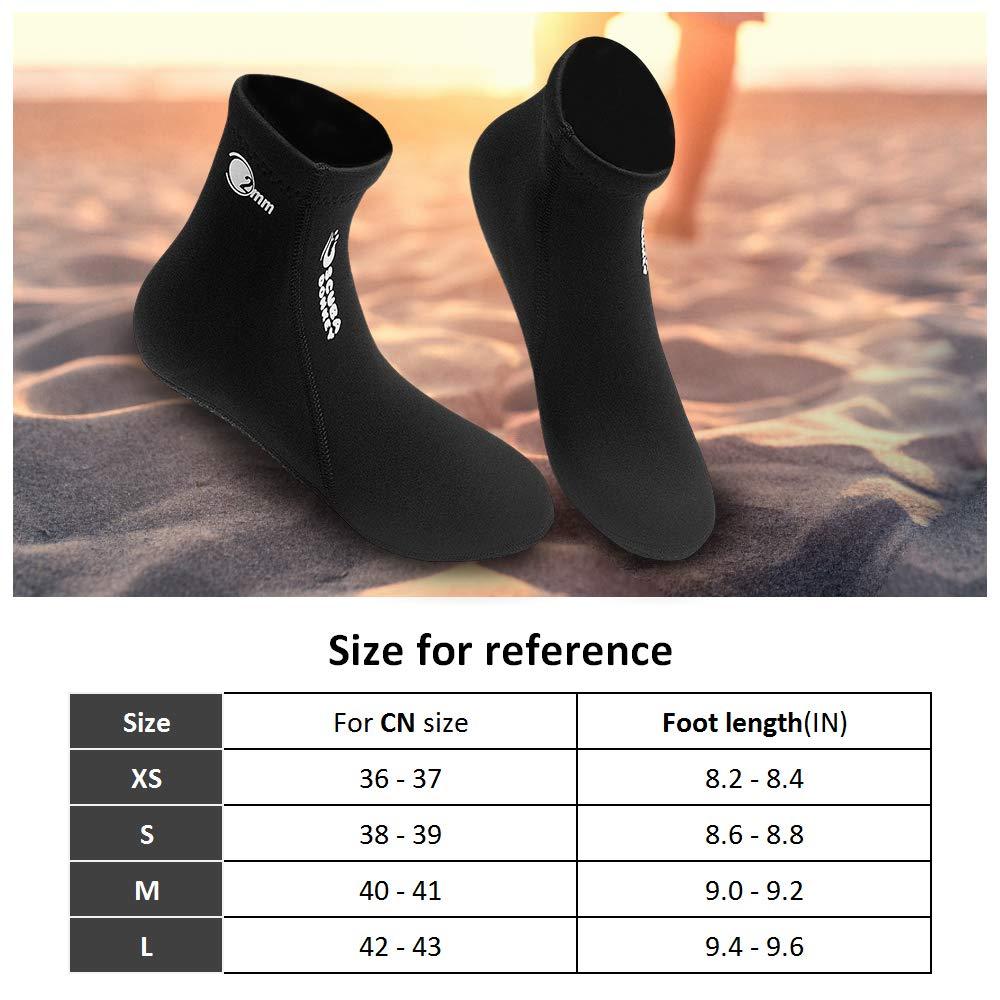 Walmeck Chaussettes de Plong/ée 2MM N/éopr/ène Chaussettes de Plong/ée Bottes Chaussures deau Chaussons de Plage Snorkeling Plong/ée Surf Bottes pour Hommes Femmes