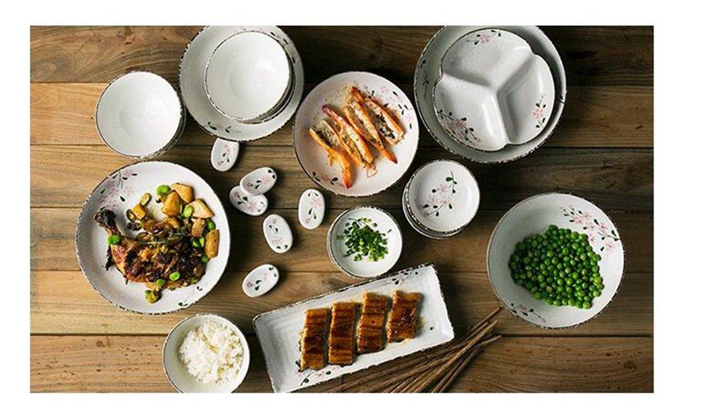 日本の家庭用食器セット/ 6丼/丼/プレート/陶器/プレート/箸/スプーン/プレート B07BCG41NF