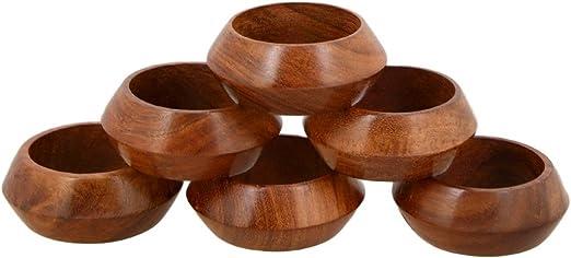 ShalinIndia Handmade Wood Napkin Ring Set With 4 Napkin Rings Artisan Crafted in India