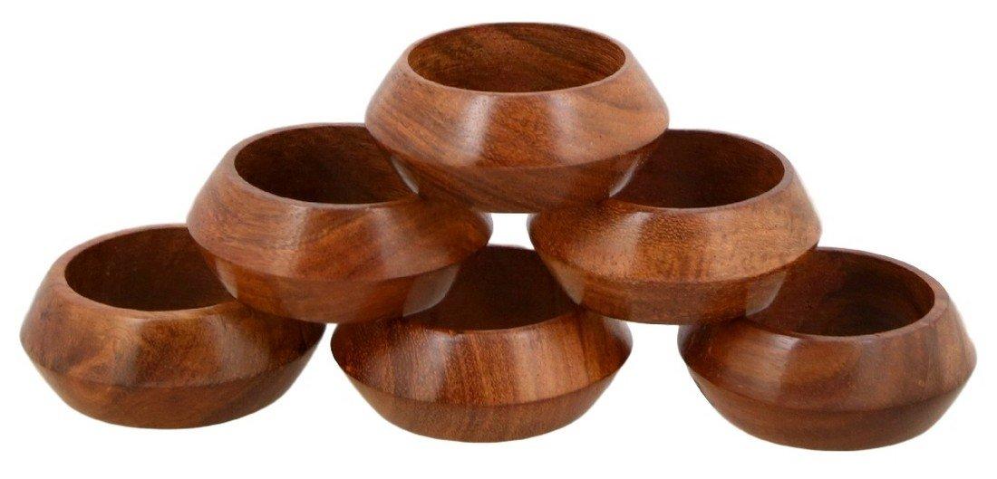 Shalinindia  Handmade Wood Napkin Ring Set (Artisan Crafted in India), Set of 6