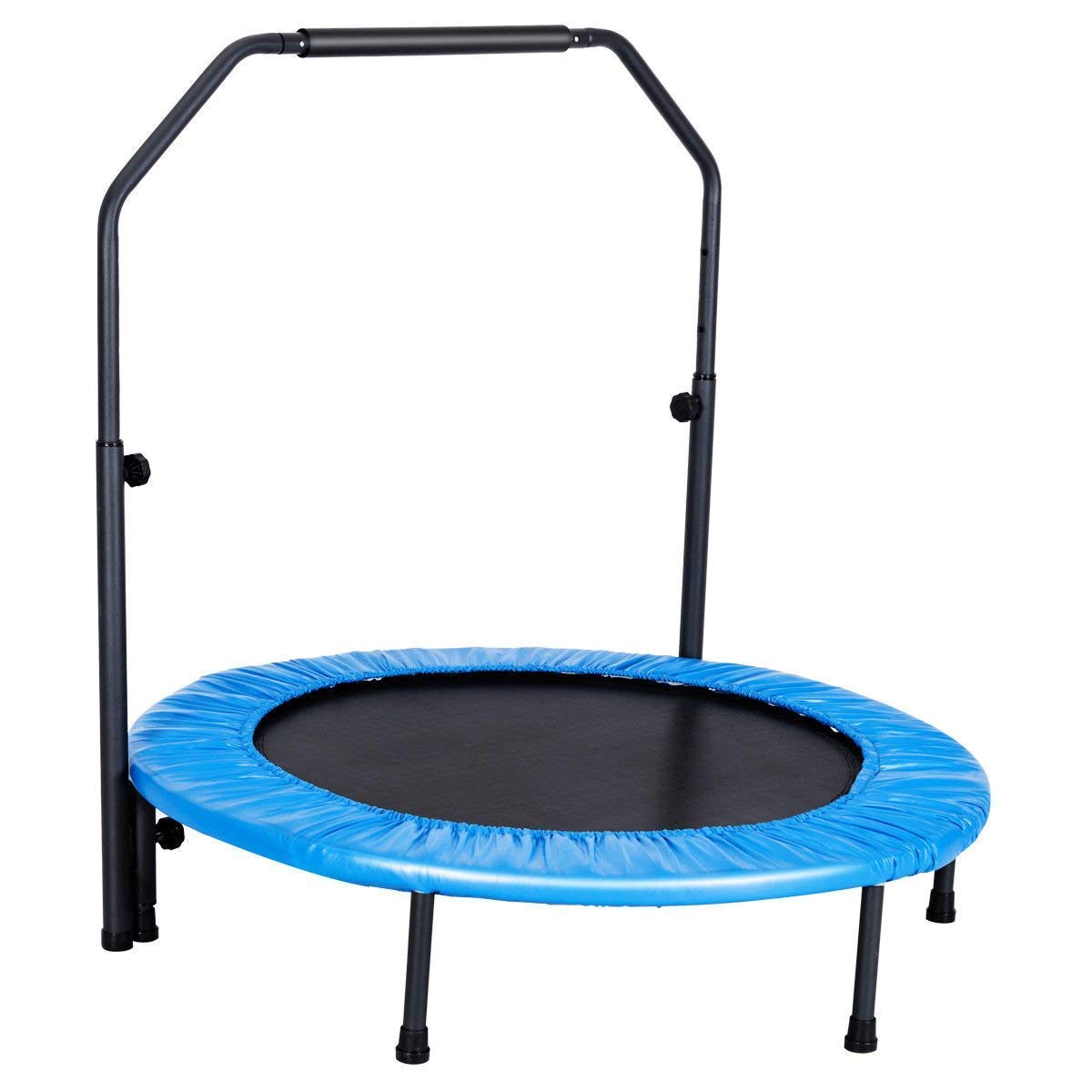 GYMAX Mini Trampoline, Rebounder Exercise Trampoline for Outdoor Indoor Fitness Workout, with Handle Rail