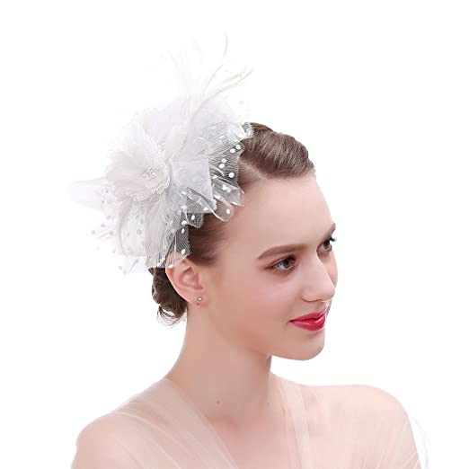 Women's Vintage Hats | Old Fashioned Hats | Retro Hats Vintage Feather Flower Fascinator Hats Hair Clip Bridal Headpiece $13.78 AT vintagedancer.com