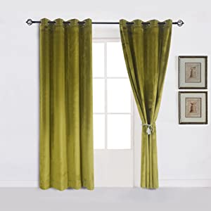 Cherry Home Super Soft Luxury Velvet Decor Moss Green Thermal Blackout Curtain Panel Drapes Grommet Draperies Eyelet 52Wx96L inch Green Yellow,2 Panels