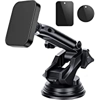 Magnetic Car Phone Holder,Hand Free Suction Cup Mount Anti Slip Mobile Cellphone for Car Windshield,Dashboard,Extendable…