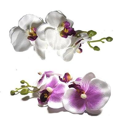 清楚 ヘア コサージュ 胡蝶蘭 髪飾り 結婚式 成人式 和装 白 紫 白/紫