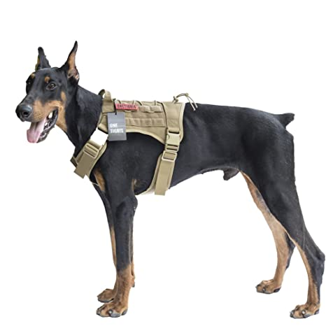 18edac0cb35d1 OneTigris Tactical Service Dog Vest - Water-Resistant Comfortable Military Patrol  K9 Dog Harness with