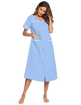 d803e67b380 Ekouaer Housecoats Women s Casual Loungewear Short Sleeve Sleepwear  Nightgown (Lavender ...