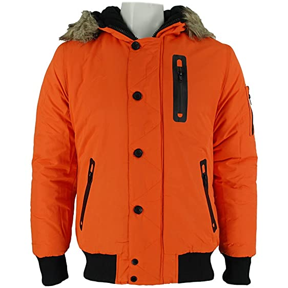 Bellfield Melo Mens Parka Jacket Orange: Amazon.co.uk: Clothing
