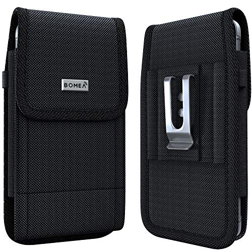 Bomea iPhone Xs Max Holster Case - Rugged Nylon Belt Clip Case Cell Phone Carrying Pouch Holder Belt Holster Carrying Sleeve for Apple iPhone Xs Max (Fits Phone w/Otterbox Commuter Case on) Black - Phone Case Fit