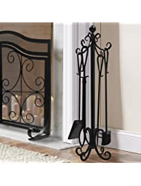 5 pieces scroll fireplace tools set black cast iron fire place toolset with log holder fireset
