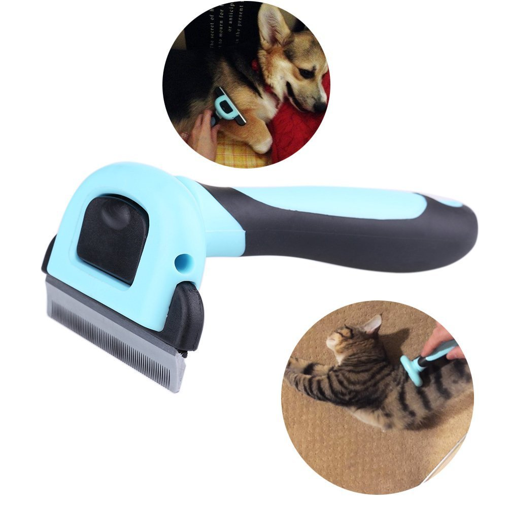 Pet Grooming Tool & Pet Grooming Brush- For Small, Medium & Large Dogs + Cats+Rabbits, With Short to Long Hair. Dramatically Reduces Shedding In Minutes- by Ledafei (5.12x2.60, Blue)