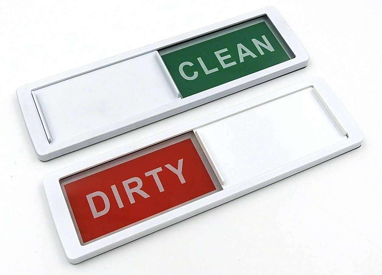 Dishwasher Clean Dirty Magnet Sign Indicator in White for All Dishwashers. Easily Determine If Dishes Inside the Dishwasher Are Clean or Dirty by Home Medley