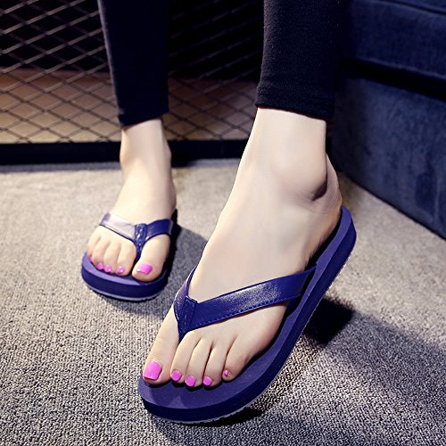 Mujeres Señoras Sandalias Zapatillas de verano masculinas / femeninas Zapatillas de playa flip flop deslizante para estudiantes de 18-40 años Cómodo ( Color : Azul , Tamaño : Woman-37 ) Azul