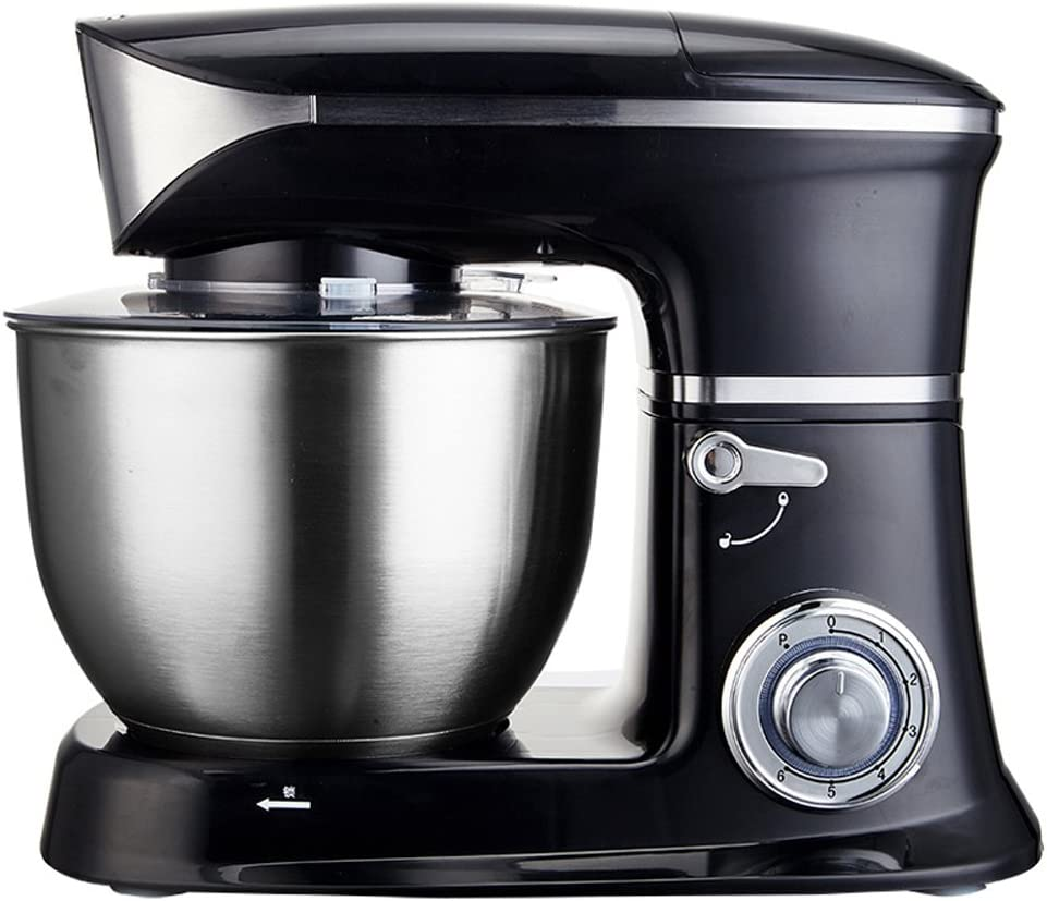 Wjsw Stand Mezclador 1300W Multifunción Máquina De Cocina Eléctrica del Cocinero, 6.5 L Tazón De Acero Inoxidable, 6 Velocidades con Splash Guard Bate, Black: Amazon.es