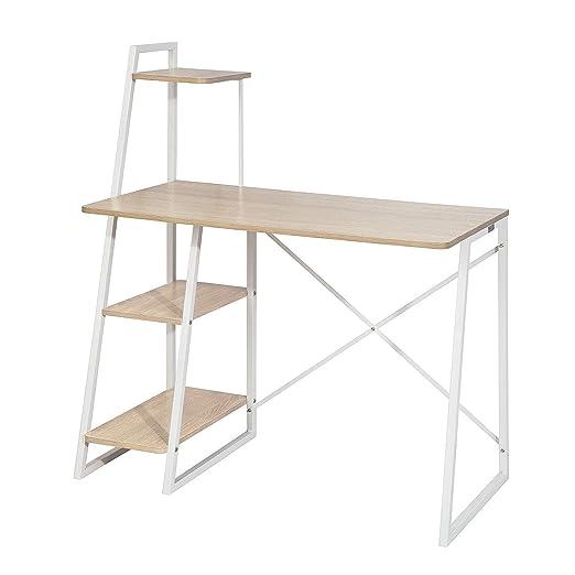 SoBuy® Mesa de Escritorio, Mesa de Ordenador con Tres estantes ...