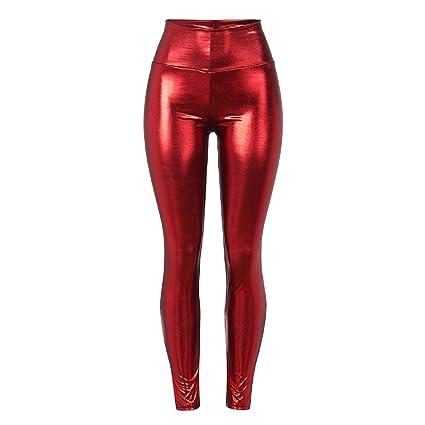 bf1b52291c293 Barlingrock Women Shiny Liquid Metallic Party Pencil Pants High Waist  Stretch Leggings,Slim Casual Cropped