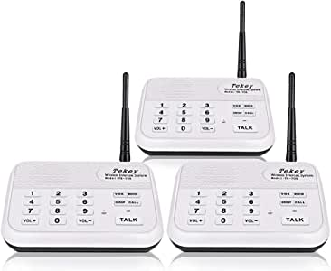 Wireless Intercom System (2018 Version), TekeyTBox 1800 Feet Long Range 10 Channel Digital FM Wireless Intercom System for Home and Office Walkie Talkie System for Outdoor Activities(3 Stations White)