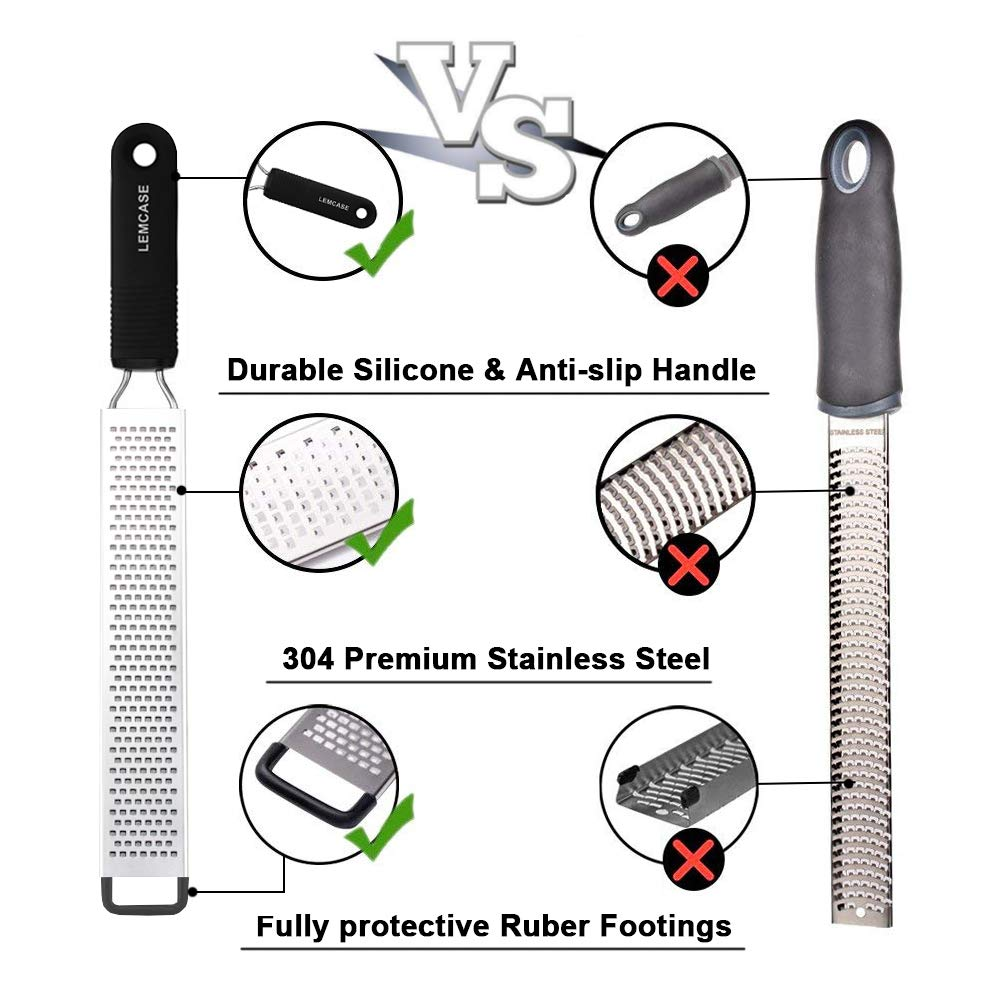 LEMCASE LEM-K-LZ Lemon Zester and Cheese Grater - Citrus, Parmesan, Chocolate, Nutmeg, Garlic, Ginger - Silicone Handle and Stainless Steel Blades with Protect, 33_cm by LEMCASE (Image #3)