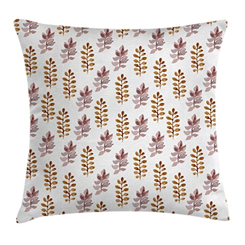 Ambesonne Nature Throw Pillow Cushion Cover, Blossom Pattern in Watercolors Floral Spring Branch Ornament Leaves Art, Decorative Square Accent Pillow Case, 18 X 18 Inches, Dried Rose Light (Spring Blossom Pattern)