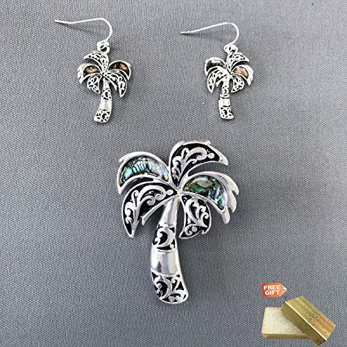 Silver Finished Mother of Pearl Palm Tree Shape Slide Pendant Earrings Set For Women Set + Gold Cotton Filled Gift Box