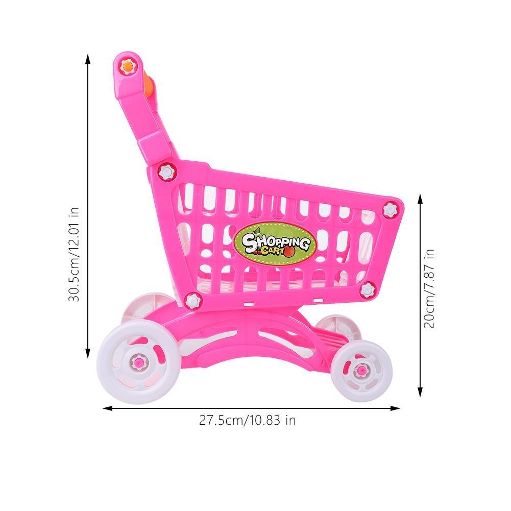 Zerodis Carrito de la compra, juguete para niños supermercados, simulación de la compra, juguete para pretender, para jugar al papel, frutas de comida, ...