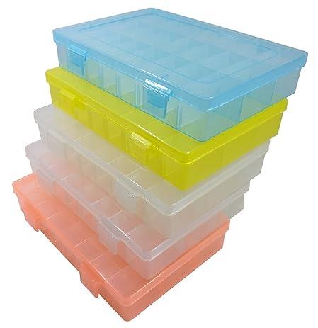 5 Pcs Big Plastic Storage Organizer, Adjustable Divider Container Box  Assortment, Clear, Orange