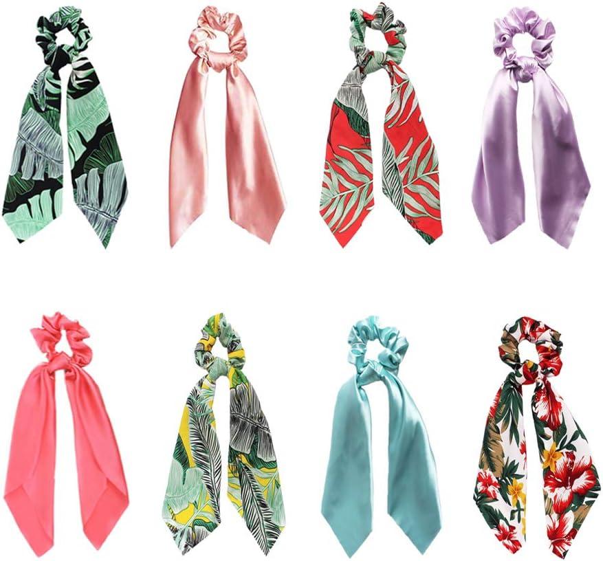 SUNPAT 8Pcs Pañuelos para el Pelo Gomas Para el Cabello Chiffon Floral Gomas Para el Cabello Bandas Para el Cabello Cola de Caballo Gomas Para el Pelo 2 en 1 Accesorios Para Mujeres Niñas