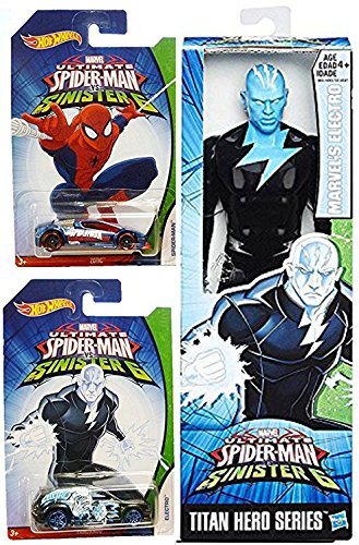 Bond Villain Costumes (Hot Wheels Marvel Spider-Man Sinister 6 Electro Villain Exclusive set Collectible car bundle & Marvel Titan 12