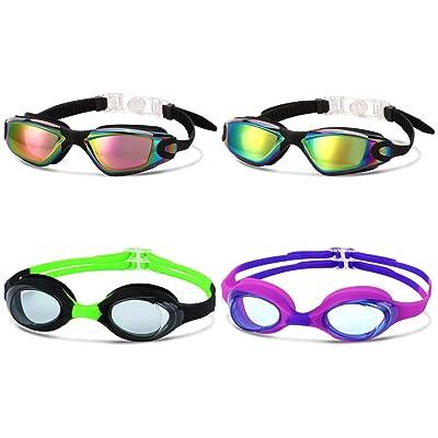 Adult Adjustable Swim Goggles Waterproof Anti-Fog UV Swimming Glasses Leak Free