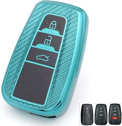 2//3//4 Buttons Soft TPU Carbon Fiber Smart Remote Key Fob case Cover Shell Full Protection for 2018 2019 2020 Toyota Camry RAV4 Avalon C-HR Prius Corolla HYQ14FBC TM Royalfox red
