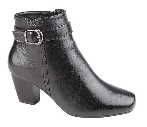 Cat Eyes Pequeño talón con cremallera interior hebilla moda botines, color Negro, talla 42: Amazon.es: Zapatos y complementos