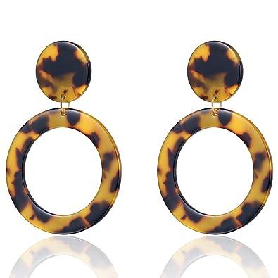 3f7e874083685 UNIWILL Acrylic Earrings Tortoise Shell Resin Earrings Drop Dangle  Statement Earrings for Women Fashion Jewelry