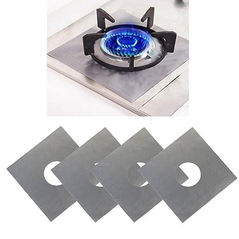 liangxiang 5pcs quemador de gas estufa protectores cubre hornillo, Liners, fibra de vidrio antiadherente