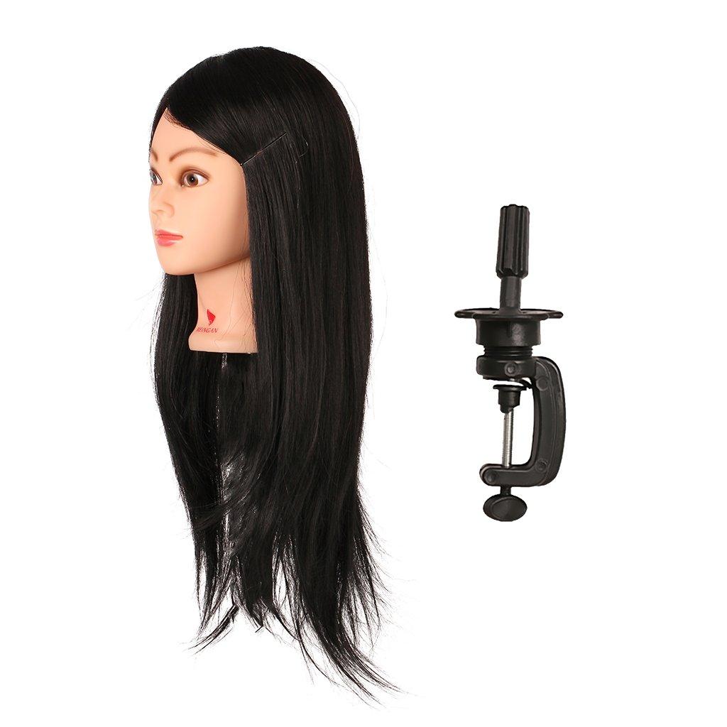 MagiDeal Testa di Manichino Femminile Capelli Lunghi Parrucchieri Formazione Modello per Salon Capelli Styling Pratica, con Morsetto Porta - #9