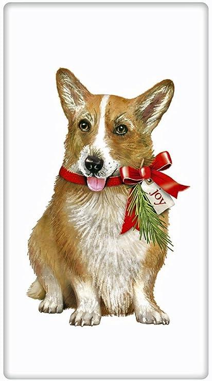 festive christmas corgi dog 100 cotton flour sack dish tea towel mary lake thompson - Christmas Corgi