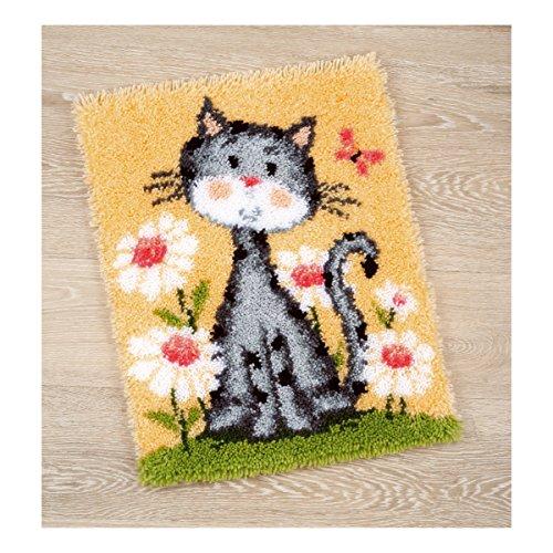 Vervaco PN-0147934 Knüpfteppich Katze mit Blumen