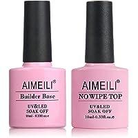 AIMEILI Top Coat en Clear Builder Gel 2 in 1 Nail Extension Builder Base Gel Nagellak UV LED Gellack Soak Off Nail…