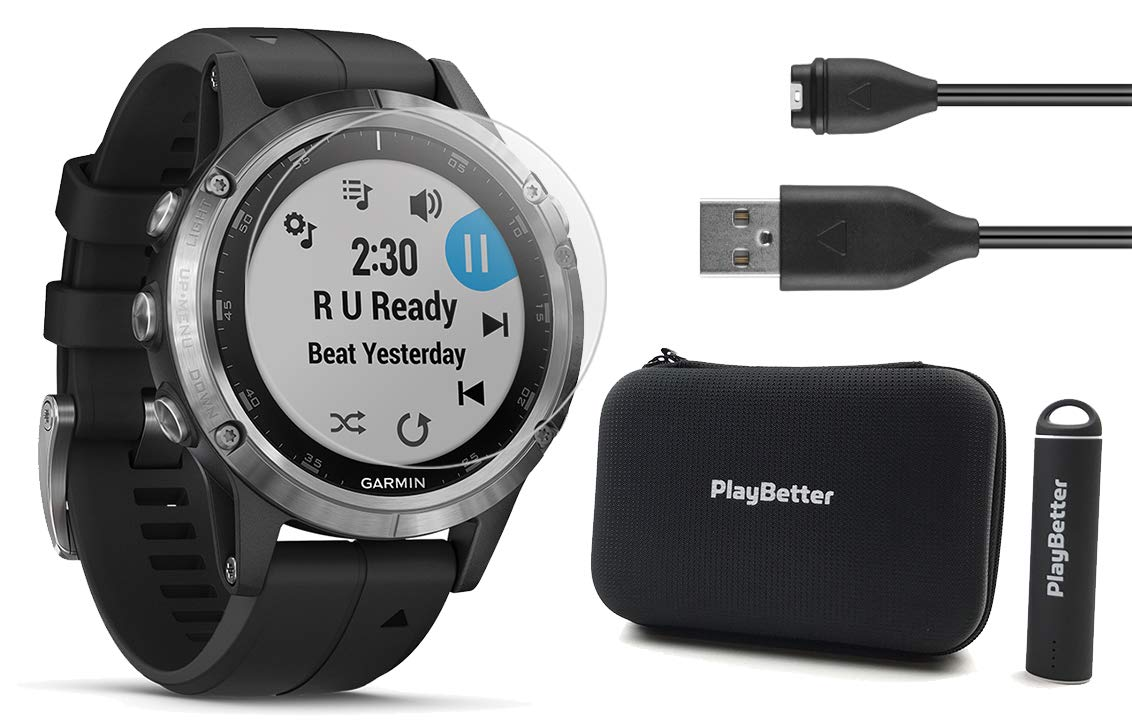 Garmin fenix 5 Plus+ Bundle with Screen Protectors, PlayBetter Portable Charger & Protective Case | Multisport GPS Watch, TOPO Maps, Garmin Pay, Music & Spotify (Silver with Black Band (Non-Sapphire))