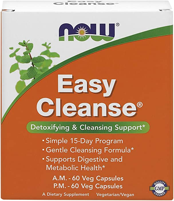 Now Supplements, Easy Cleanse, AM/PM with Unique Blend of Specialized Herbs, Nutrients and Green Foods, 120 Veg Capsules