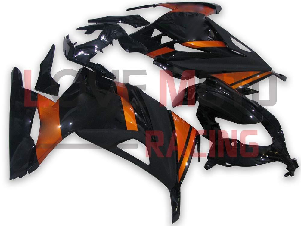 LoveMoto ブルー/イエローフェアリング カワサキ kawasaki EX300R ZX300R Ninja 300 2013 2014 13 14 EX-300R ZX-300R ABS射出成型プラスチックオートバイフェアリングセットのキット ブラック オレンジ   B07KQ5F4ZN
