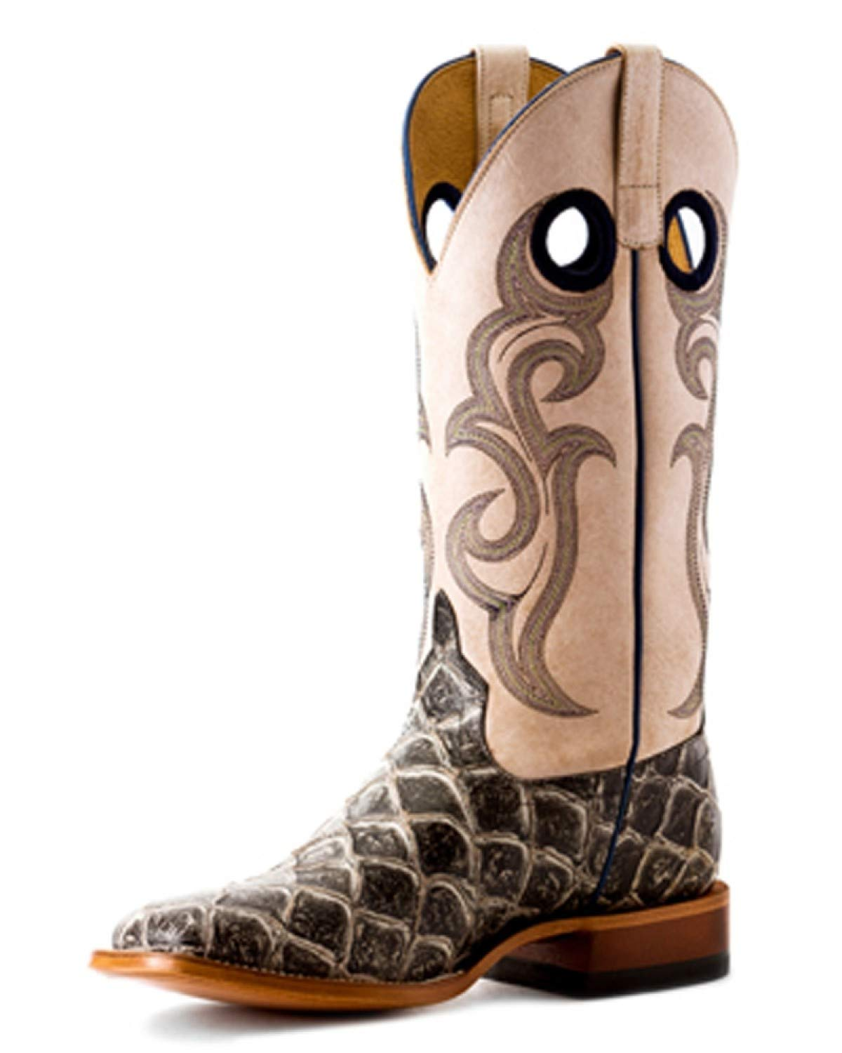 HORSE POWER by Anderson Bean HP1845 Asphalt Filet of Fish Bleached Bone Square Toe Boots (11.5)