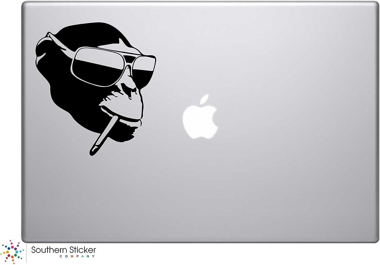 Smoking Monkey in Sunglasses Vinyl Car Sticker Symbol Silhouette Keypad Track Pad Decal Laptop Skin Ipad Macbook Window Truck Motorcycle