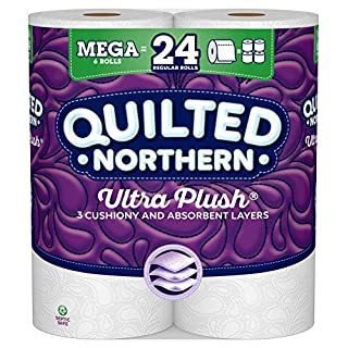 Quilted Northern Ultra Plush Toilet Paper, 6 Mega Rolls, 6 = 24 Regular Rolls, 3 Ply Bath Tissue